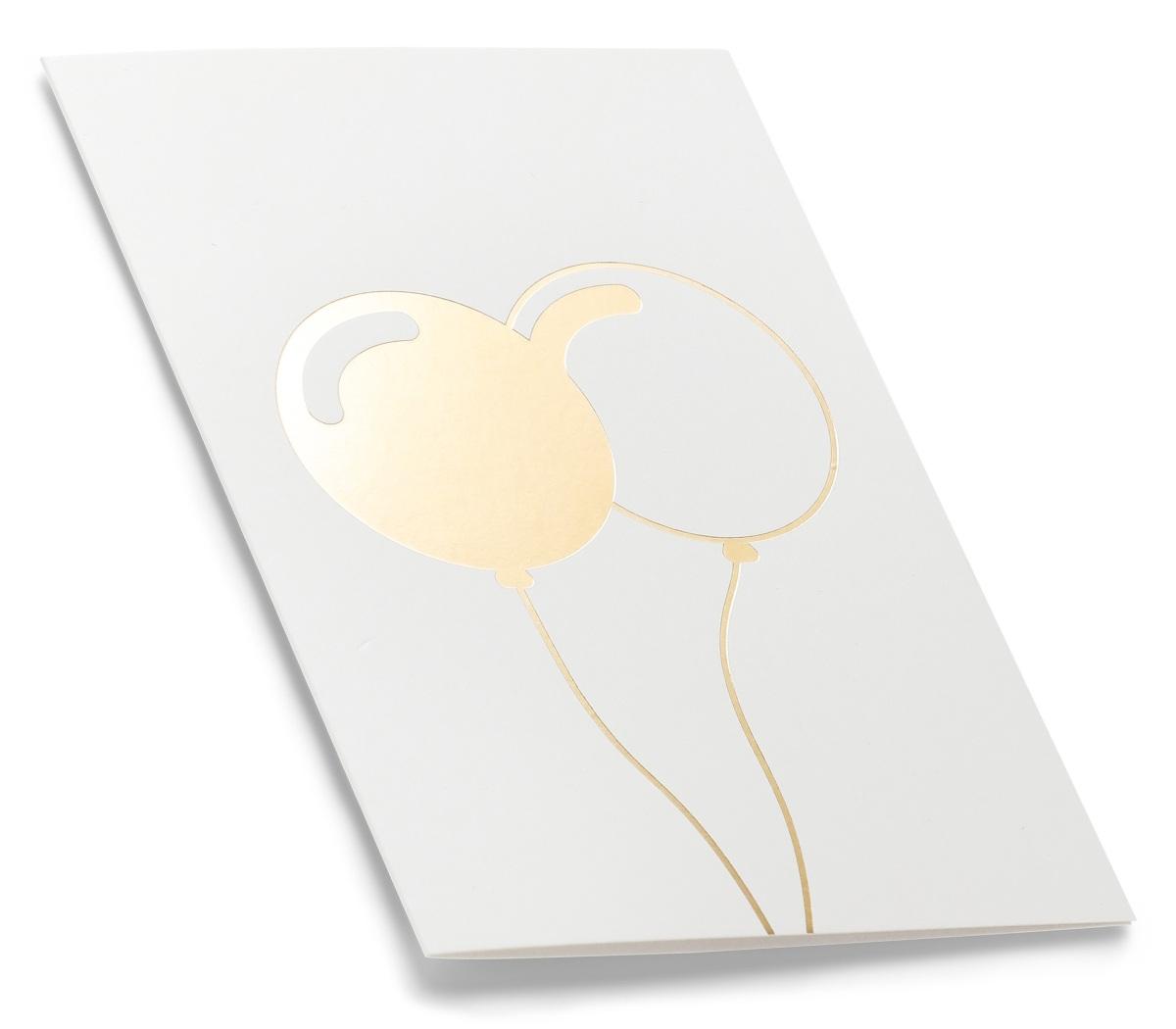 Hvitt gratulasjonskort med ballonger i gulltrykk