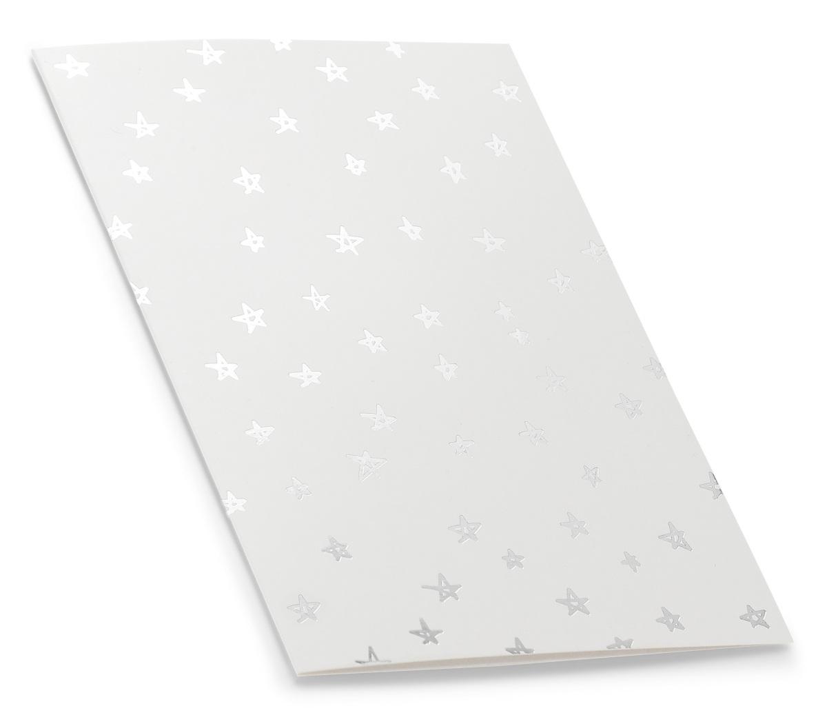 Hvitt gratulasjonskort med stjerner i sølvtrykk