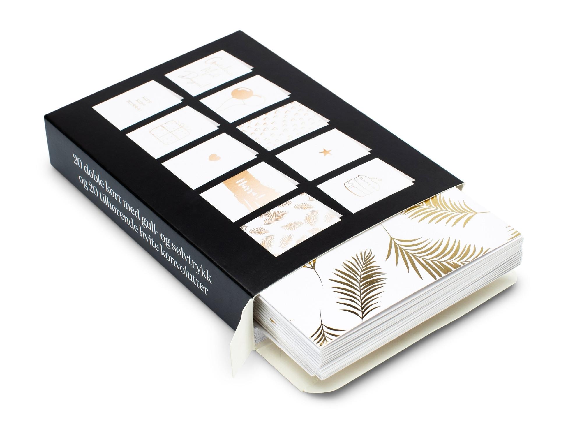 Sort kortpakke for dugnad og kortdugnad med gratulasjonskort i gull som stikker ut